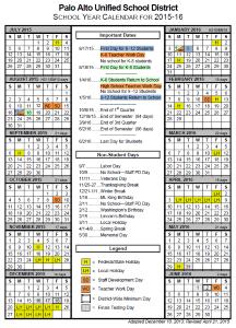 2015-2016 PAUSD Calendar