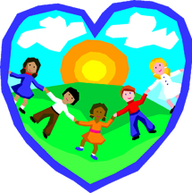 Escondido Logo: sun, sky, clouds, grass, and five children holding hands inside a blue heart
